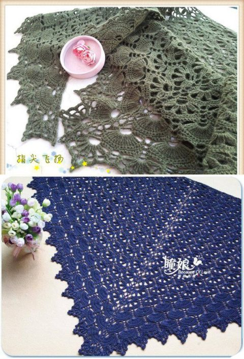 Роскошная шаль Цветы на волнах