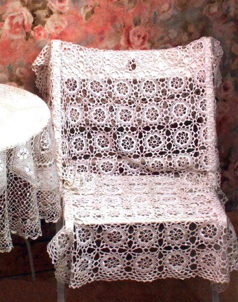 Прямоугольная скатерть/накидка на стул крючком