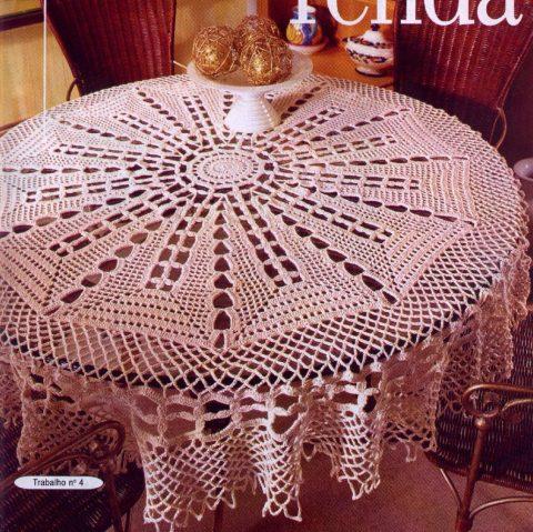 10 схем вязания круглых скатертей крючком