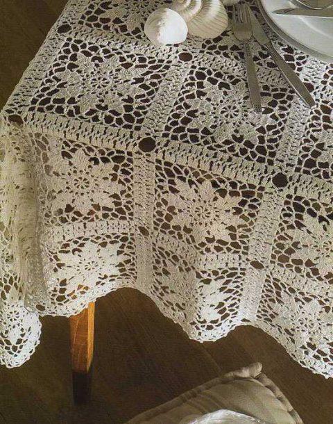 Прямоугольная скатерть из мотивов со схемой