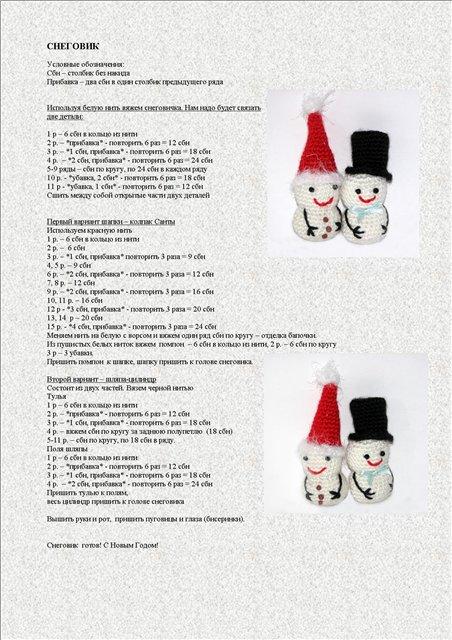 Схема и описание новогодних игрушек Снеговик
