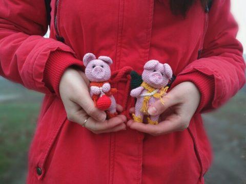 Новогодняя свинка - амигуруми