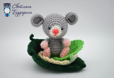 Схема – Маленькая мышка на листике (символ 2020 года)