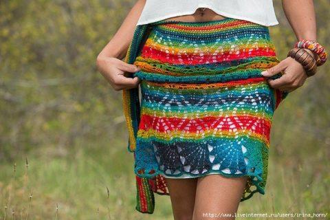 Длинная юбка крючком из меланжевой пряжи