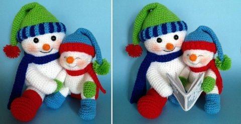 Снеговики с книжкой, вяжутся крючком