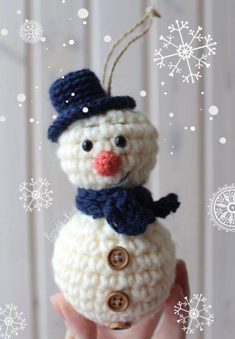 Самый легкий снеговик крючком от Яеы Бондарчук