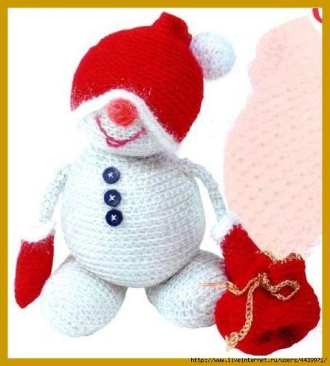 Снеговик крючком, игрушки из интернет
