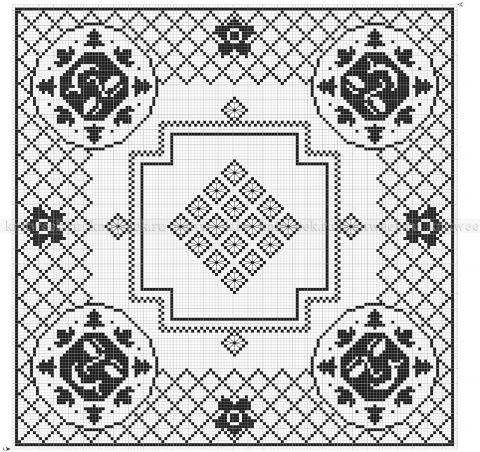 Схема вязания филейной скатерти крючком