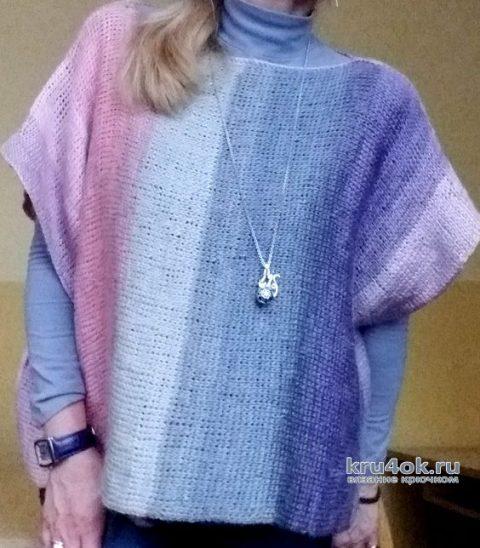 Свободная кофта, связанная тунисским крючком. Работа Елены Шевчук вязание и схемы вязания