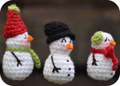 Снеговики - амигуруми крючком