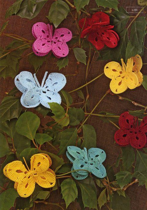 Декоративные бабочки крючком