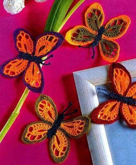 Ажурные декоративные бабочки крючком