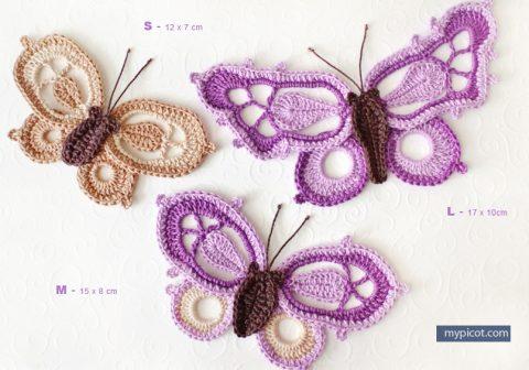 Три бабочки крючком, мастер - класс