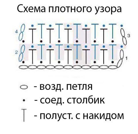 Схема плотного узора для теплой кофты крючком