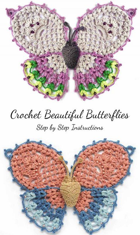 ажурные бабочки крюком