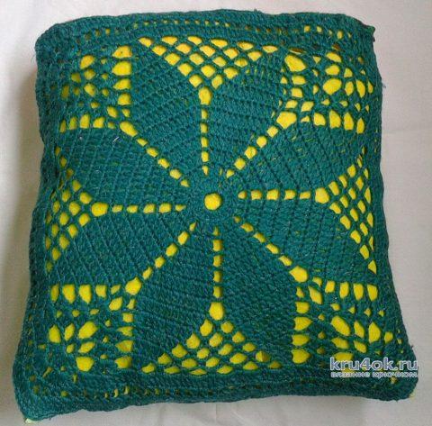 Чехлы на подушки крючком. Работы Галины Коржуновой вязание и схемы вязания