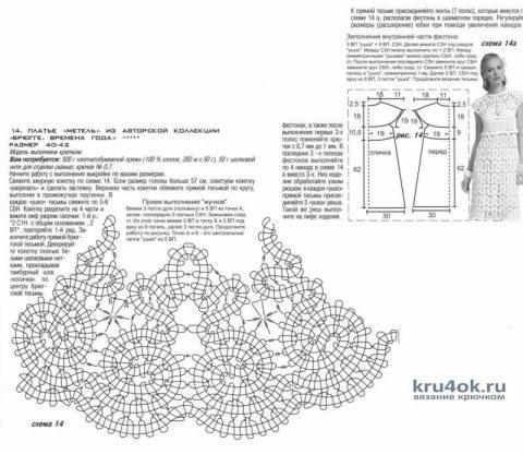 Платье в технике брюггское кружево. Работа Аллы вязание и схемы вязания