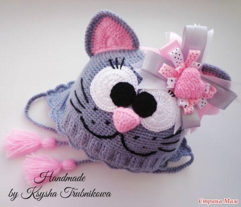 Шапка - кошка крючком, пошаговое описание