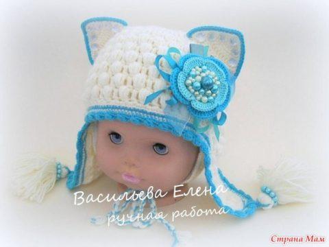 Зимняя шапка - кошка, мастер - класс!