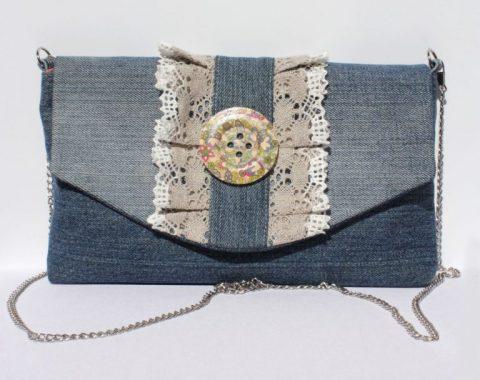 объемная сумка-клатч из старых джинс своими руками