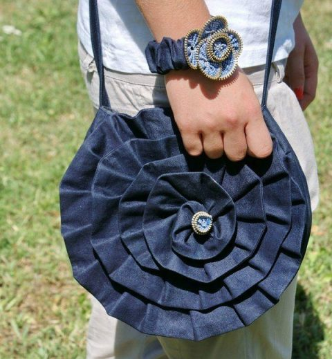 круглая сумка из старых джинс своими руками