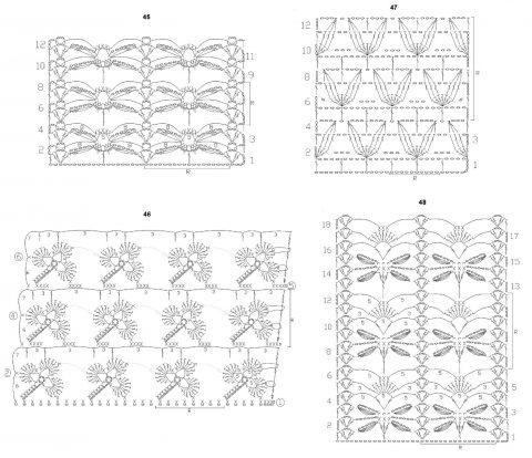 схема ажурных узоров крючком