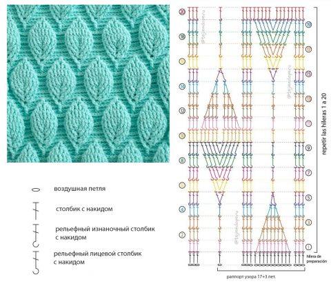 Схема вязания узора 3D листья