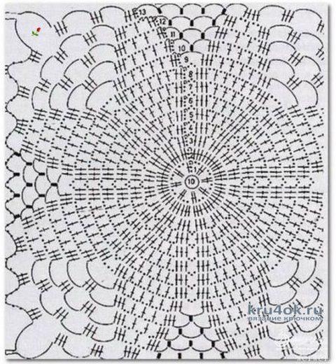 Нежный палантин крючком из мотивов. Работа Анастасии Кабытовой вязание и схемы вязания