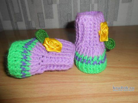 Пинетки - сапожки крючком. Работа Татьяны вязание и схемы вязания