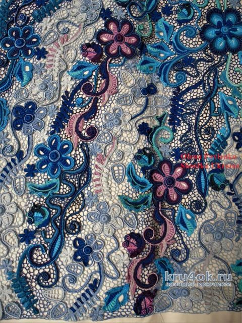 Платье Сапфир связано в технике ирландского кружева вязание и схемы вязания