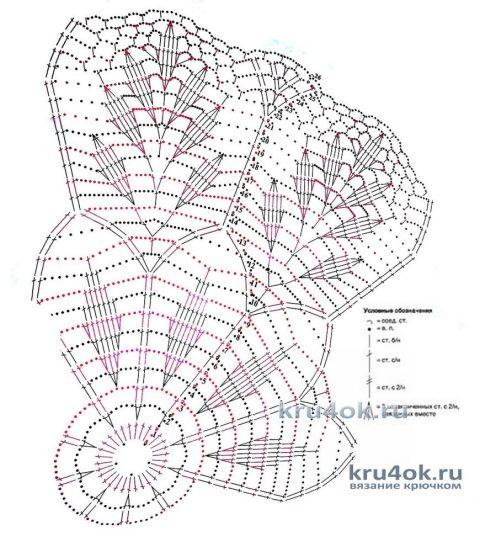 Салфетка с листиками, связанная крючком. Работа Татьяны Крас вязание и схемы вязания