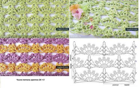 Схемы вязания узора ажурные ракушки (веера) крючком