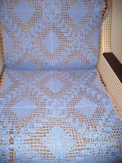 Ажурная накидка на кресло крючком. Работа Анны вязание и схемы вязания