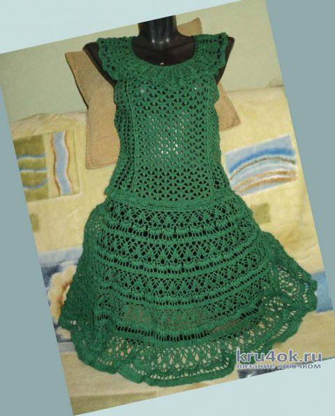 Летнее женское платье крючком. Работа Ольги вязание и схемы вязания