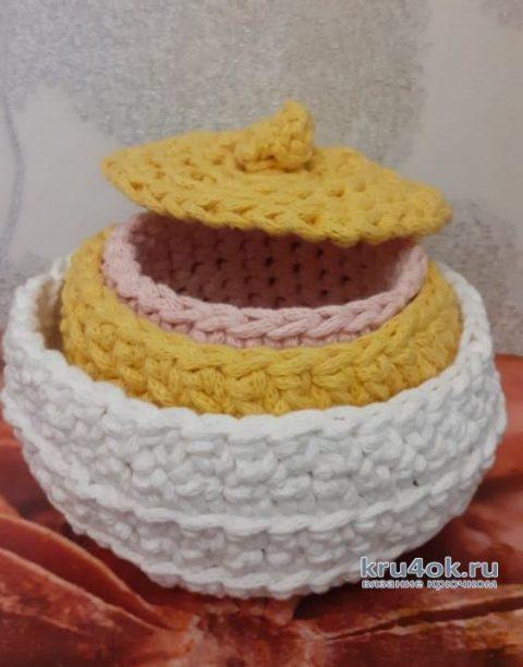 Мини-шкатулки из трикотажного шнура крючком. Работа Маргариты вязание и схемы вязания