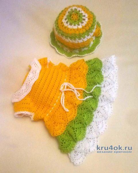 Платье для куклы крючком. Работа Ивановой Людмилы вязание и схемы вязания