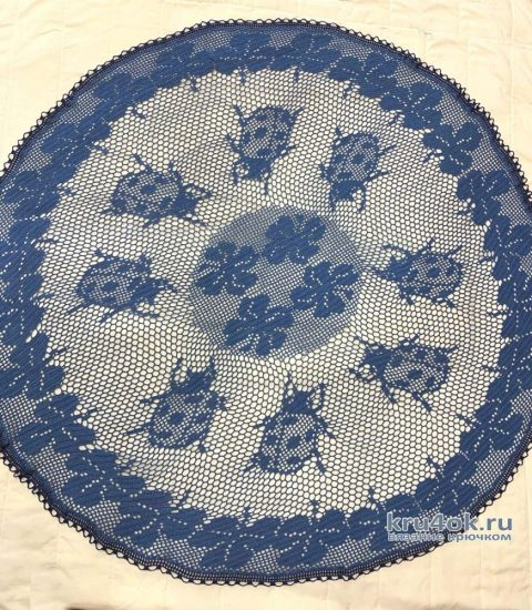 Скатерть Синее Утро, связанная крючком. Работа Татианы вязание и схемы вязания
