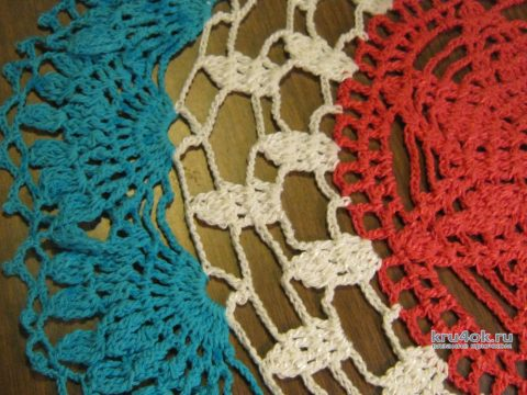 Трехцветная салфетка крючком. Работа Татьяны Крас вязание и схемы вязания