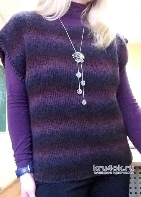Жилет женский тунисским крючком. Работа Елены Шевчук вязание и схемы вязания