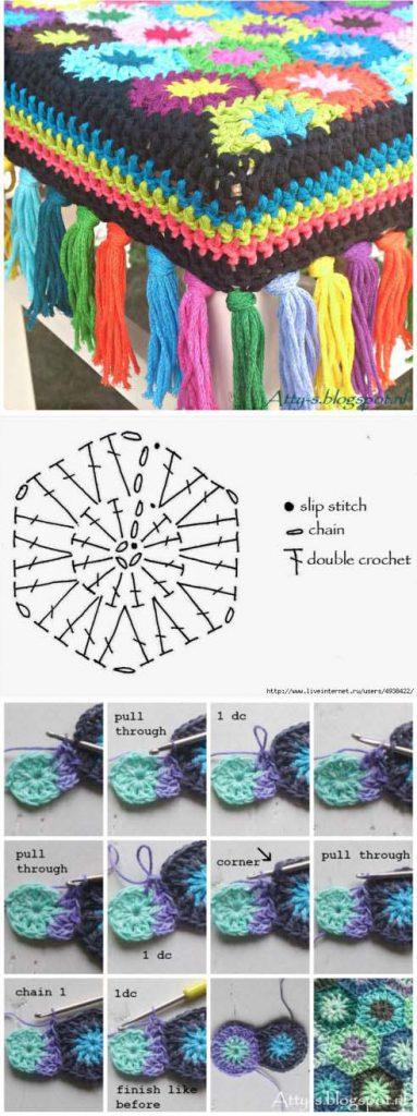 Чехлы для стульев связанные крючком из остатков пряжи