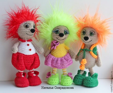 crochet funny hedgehogs