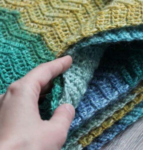 "Узор ""зиг-заг"" для вязания шарфа"