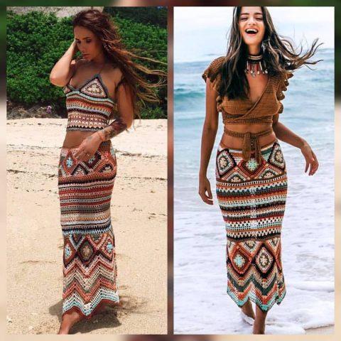 Вязаные крючком женские юбки на лето
