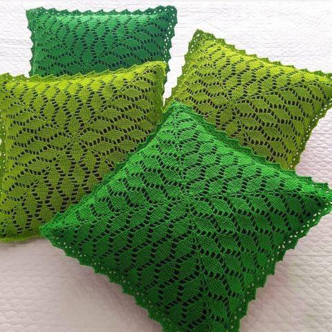 узор листья для вязания подушки или авоськи