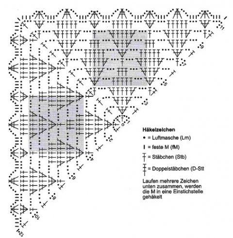 Схема узора листья