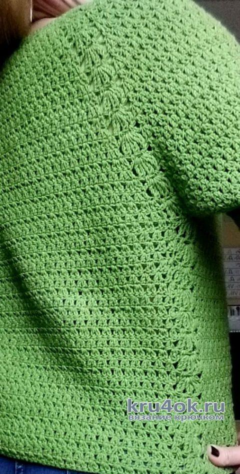 Джемпер реглан крючком. Работа Елены Шевчук вязание и схемы вязания