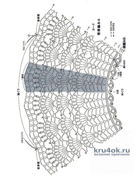 Летняя кофточка с круглой кокеткой. Работа Петровой Виктории вязание и схемы вязания