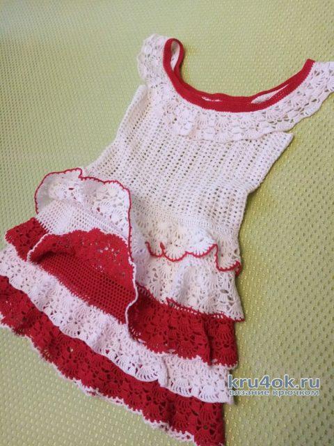 Платье для девочки 4-5 лет связано крючком. Работа Ивановой Людмилы вязание и схемы вязания