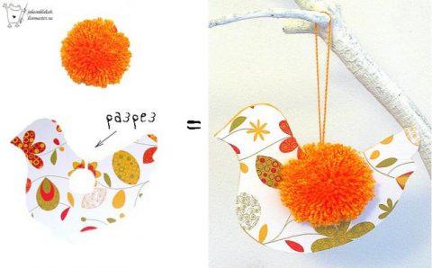 Птичка - витаминка из помпона
