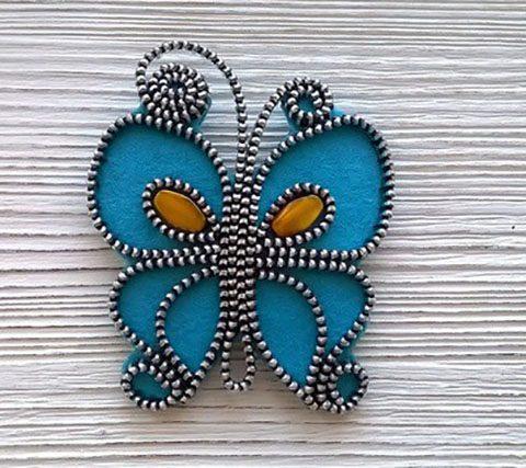 Фетровое украшение бабочка